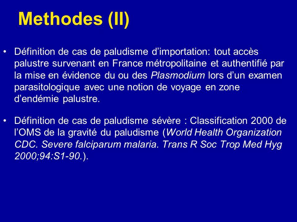 Methodes (II) Définition de cas de paludisme dimportation: tout accès palustre survenant en France métropolitaine et authentifié par la mise en éviden