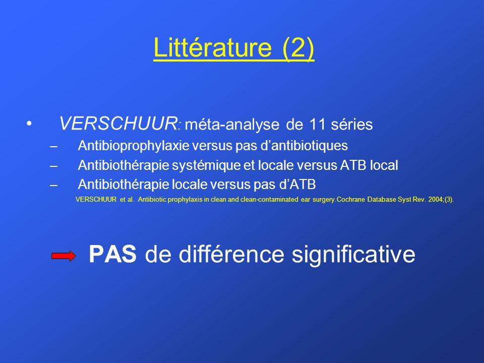 Littérature (2) VERSCHUUR : méta-analyse de 11 séries –Antibioprophylaxie versus pas dantibiotiques –Antibiothérapie systémique et locale versus ATB l