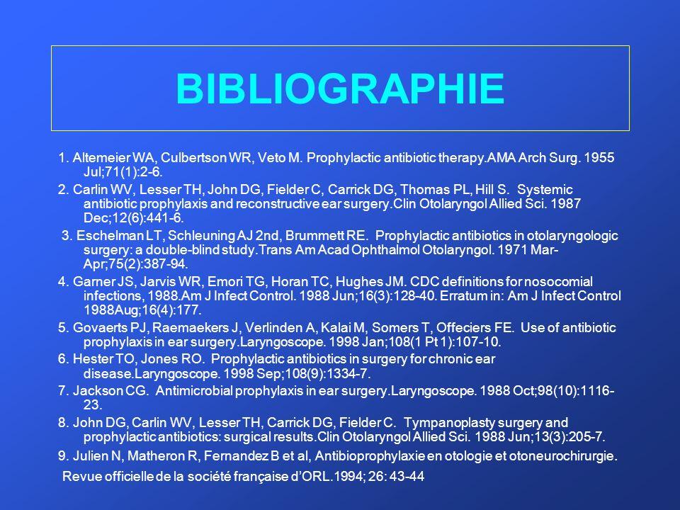 BIBLIOGRAPHIE 1. Altemeier WA, Culbertson WR, Veto M. Prophylactic antibiotic therapy.AMA Arch Surg. 1955 Jul;71(1):2-6. 2. Carlin WV, Lesser TH, John