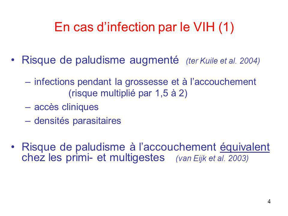 4 En cas dinfection par le VIH (1) Risque de paludisme augmenté (ter Kuile et al. 2004) –infections pendant la grossesse et à laccouchement (risque mu
