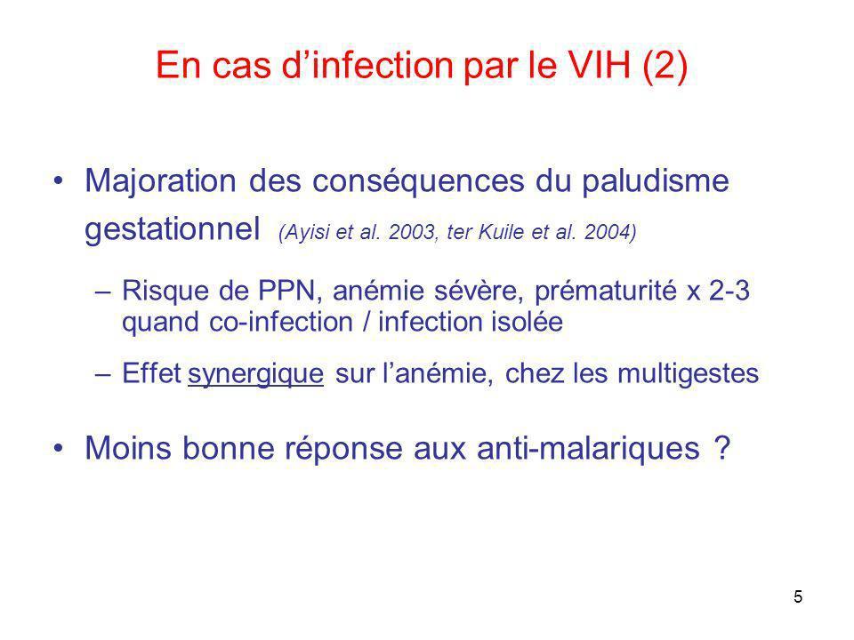 6 Prévention du paludisme gestationnel Traitement préventif intermittent (TPIp) –Remplace la prophylaxie par chloroquine (OMS 2004) = Anti-malarique à dose curative au moins 2 fois au cours de la grossesse, en prise supervisée – Sulfadoxine-pyriméthamine (SP) Moustiquaires imprégnées (MI) Traitement des accès palustres