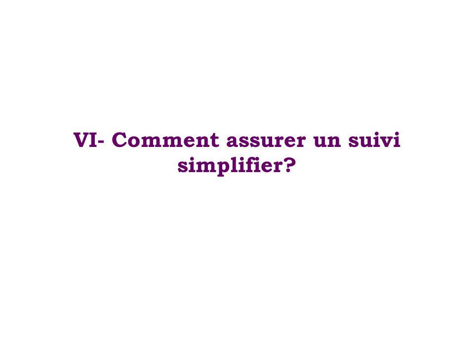 VI- Comment assurer un suivi simplifier?