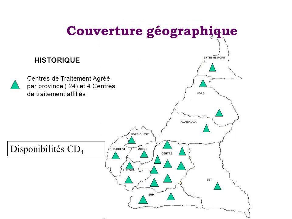 Couverture géographique Centres de Traitement Agréé par province ( 24) et 4 Centres de traitement affiliés HISTORIQUE Disponibilités CD 4