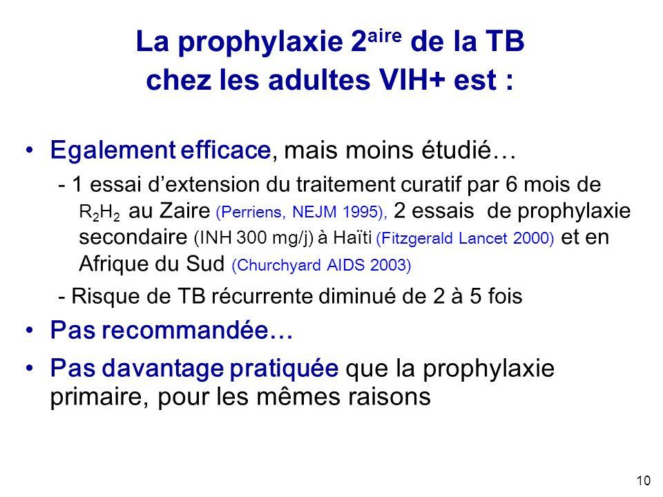 10 Egalement efficace, mais moins étudié… - 1 essai dextension du traitement curatif par 6 mois de R 2 H 2 au Zaire (Perriens, NEJM 1995), 2 essais de prophylaxie secondaire (INH 300 mg/j) à Haïti (Fitzgerald Lancet 2000) et en Afrique du Sud (Churchyard AIDS 2003) - Risque de TB récurrente diminué de 2 à 5 fois Pas recommandée… Pas davantage pratiquée que la prophylaxie primaire, pour les mêmes raisons La prophylaxie 2 aire de la TB chez les adultes VIH+ est :