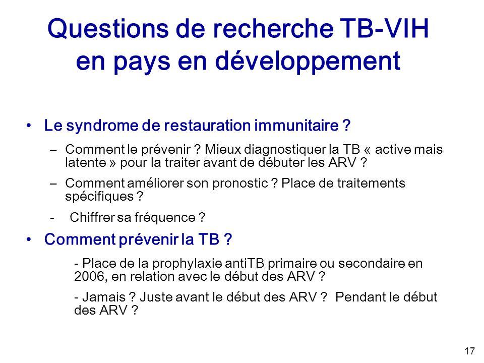 17 Le syndrome de restauration immunitaire . –Comment le prévenir .