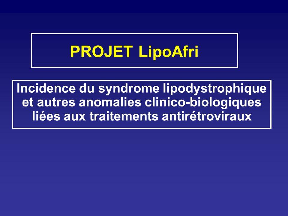 PROJET LipoAfri Incidence du syndrome lipodystrophique et autres anomalies clinico-biologiques liées aux traitements antirétroviraux