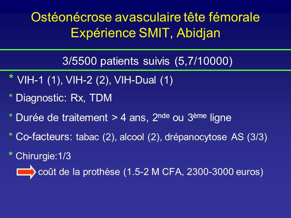 Ostéonécrose avasculaire tête fémorale Expérience SMIT, Abidjan 3/5500 patients suivis (5,7/10000) * VIH-1 (1), VIH-2 (2), VIH-Dual (1) * Diagnostic: