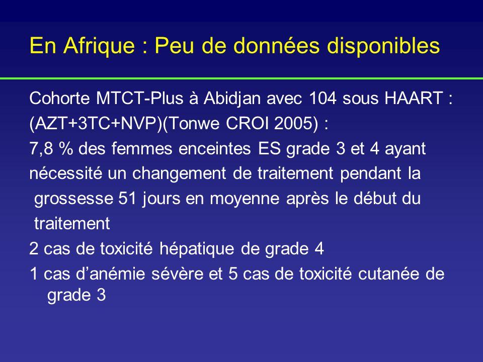 En Afrique : Peu de données disponibles Cohorte MTCT-Plus à Abidjan avec 104 sous HAART : (AZT+3TC+NVP)(Tonwe CROI 2005) : 7,8 % des femmes enceintes