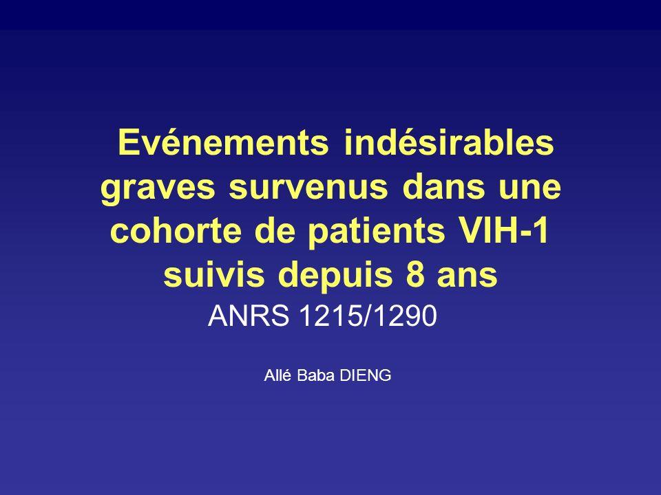 Evénements indésirables graves survenus dans une cohorte de patients VIH-1 suivis depuis 8 ans ANRS 1215/1290 Allé Baba DIENG