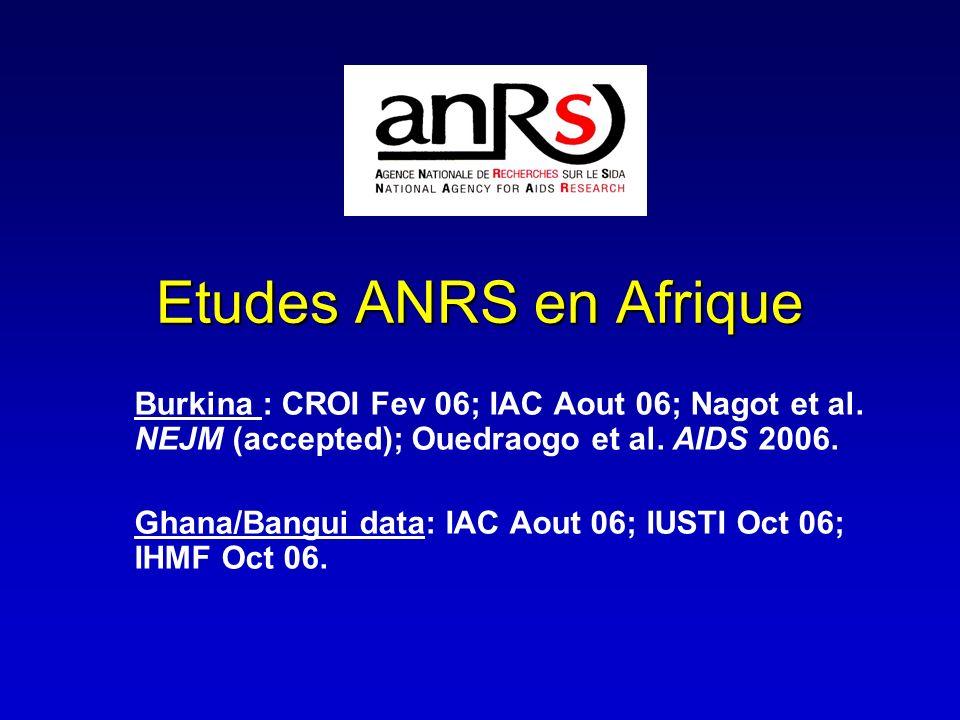 Etudes ANRS en Afrique Burkina : CROI Fev 06; IAC Aout 06; Nagot et al. NEJM (accepted); Ouedraogo et al. AIDS 2006. Ghana/Bangui data: IAC Aout 06; I