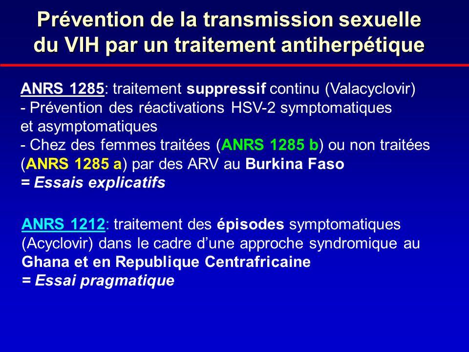 Prévention de la transmission sexuelle du VIH par un traitement antiherpétique ANRS 1285: traitement suppressif continu (Valacyclovir) - Prévention de