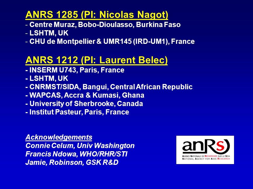 ANRS 1285 (PI: Nicolas Nagot) - Centre Muraz, Bobo-Dioulasso, Burkina Faso - LSHTM, UK - CHU de Montpellier & UMR145 (IRD-UM1), France ANRS 1212 (PI: