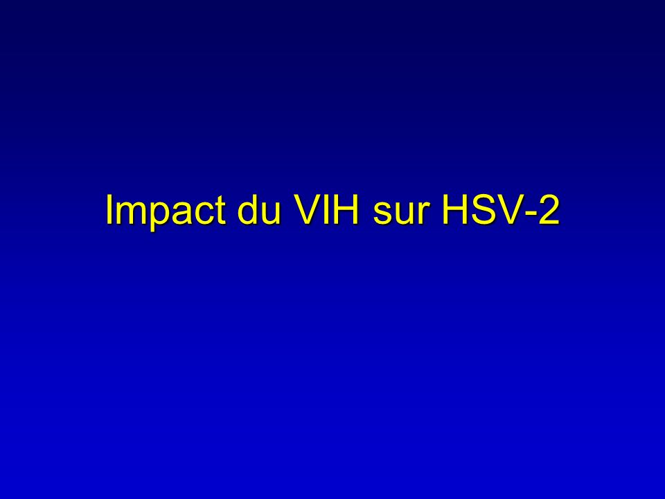 Potential role of HSV-2 in HIV transmission and disease progression and the place of HSV-2 therapy HIV RNA in Semen (Log 10 copies/ml) Acute Infection 3 wks STI Episode AIDS 2 3 4 5 HAART Adapted from Cohen & Pilcher, JID 2005 ACV ?
