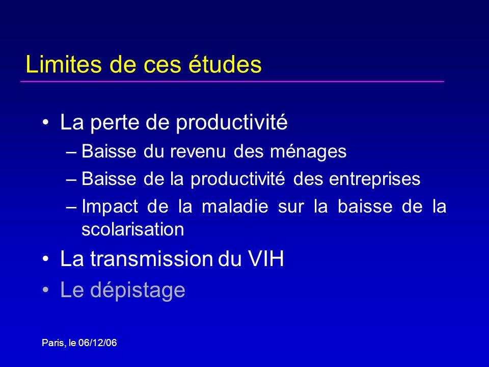 Paris, le 06/12/06 Limites de ces études La perte de productivité –Baisse du revenu des ménages –Baisse de la productivité des entreprises –Impact de