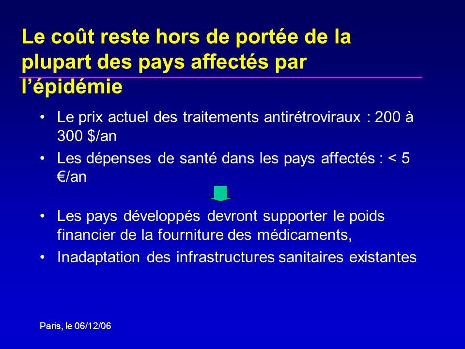 Paris, le 06/12/06 Le coût reste hors de portée de la plupart des pays affectés par lépidémie Le prix actuel des traitements antirétroviraux : 200 à 3