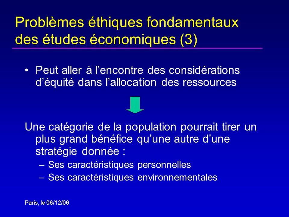 Paris, le 06/12/06 Problèmes éthiques fondamentaux des études économiques (3) Peut aller à lencontre des considérations déquité dans lallocation des r