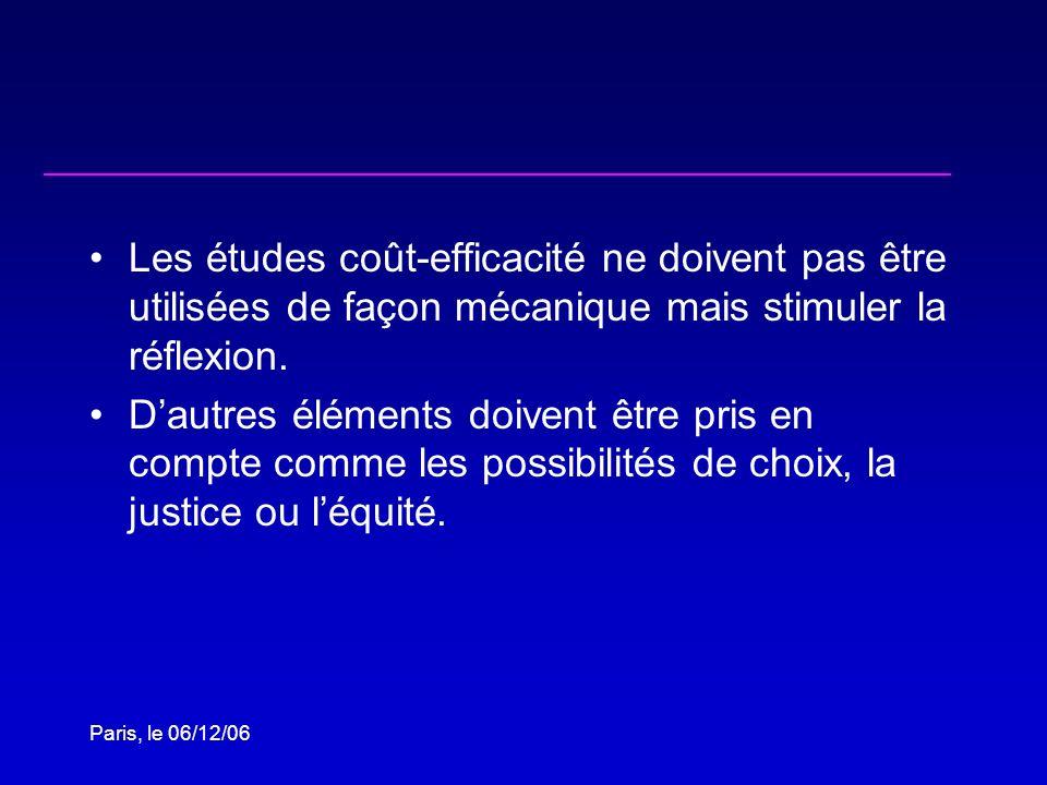 Paris, le 06/12/06 Les études coût-efficacité ne doivent pas être utilisées de façon mécanique mais stimuler la réflexion. Dautres éléments doivent êt