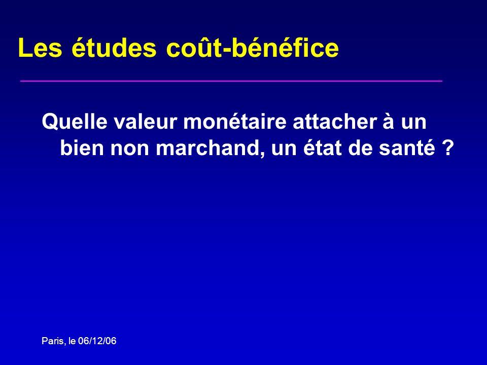 Paris, le 06/12/06 Les études coût-bénéfice Quelle valeur monétaire attacher à un bien non marchand, un état de santé ?