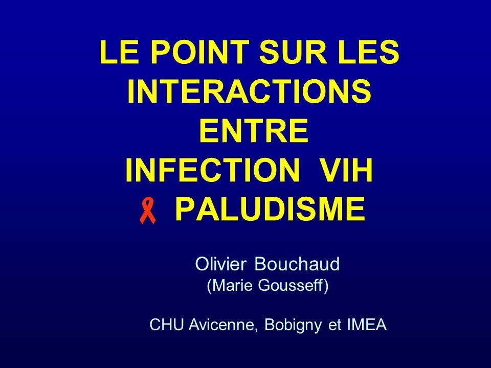 Impact du VIH sur le paludisme : effet sur la réponse au traitement Efficacité des traitements antipaludiques Diminuée femmes enceintes VIH + vs VIH- (prévention) Parise ME, Am J Trop Med Hyg 1998 SP (Kenya, VIH+ < 200 T4 vs VIH-) Shah JID 2006 mortalité plus élevée (< 5ans VIH + vs -, palu grave, Ouganda) Malamba Malar J 2007 Non influencée efficacité et clairance (Malawi, SP) Laufer AJTMH 2007 voire meilleure (CQ+SP) Byakika Afr Health Sci 2007 Réinfections plus fréquentes après TTT efficace Malamba Malar J 2007 (enfants <5 ans, palu graves) ; Kamya JID 2006