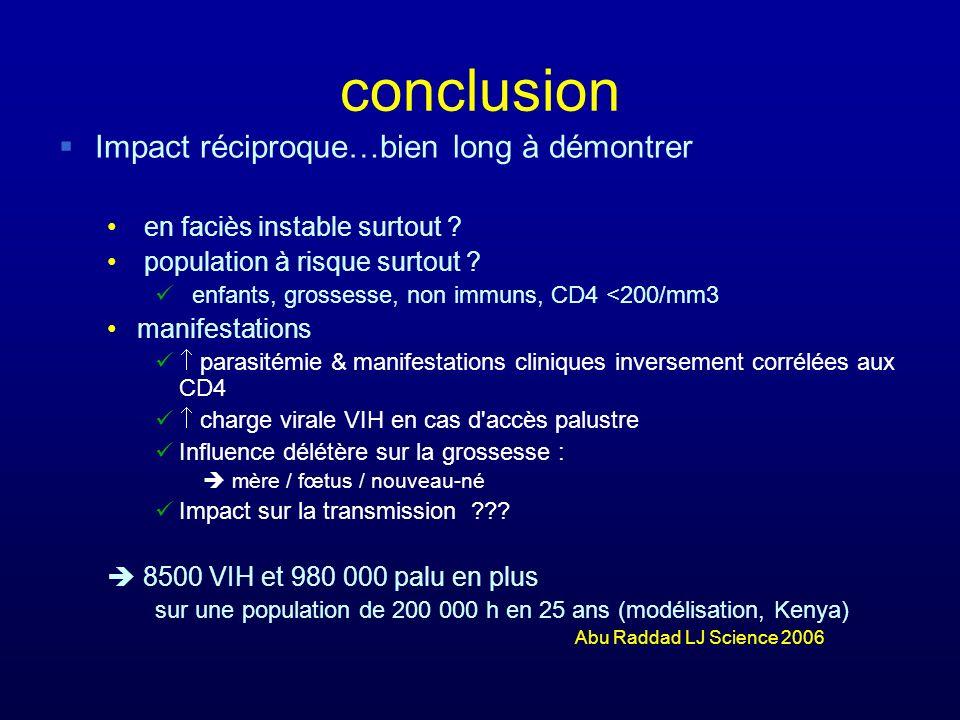 conclusion Impact réciproque…bien long à démontrer en faciès instable surtout ? population à risque surtout ? enfants, grossesse, non immuns, CD4 <200