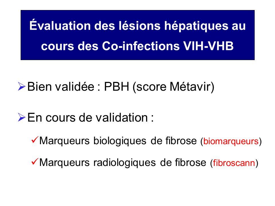Évaluation des lésions hépatiques au cours des Co-infections VIH-VHB Bien validée : PBH (score Métavir) En cours de validation : Marqueurs biologiques