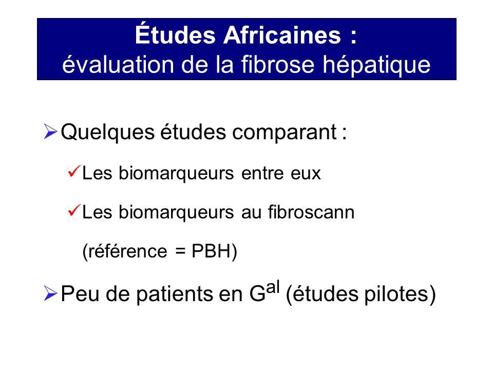 Études Africaines : évaluation de la fibrose hépatique Quelques études comparant : Les biomarqueurs entre eux Les biomarqueurs au fibroscann (référenc