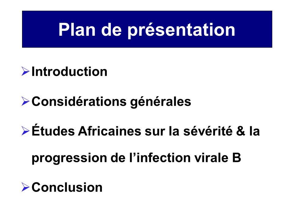 Plan de présentation Introduction Considérations générales Études Africaines sur la sévérité & la progression de linfection virale B Conclusion