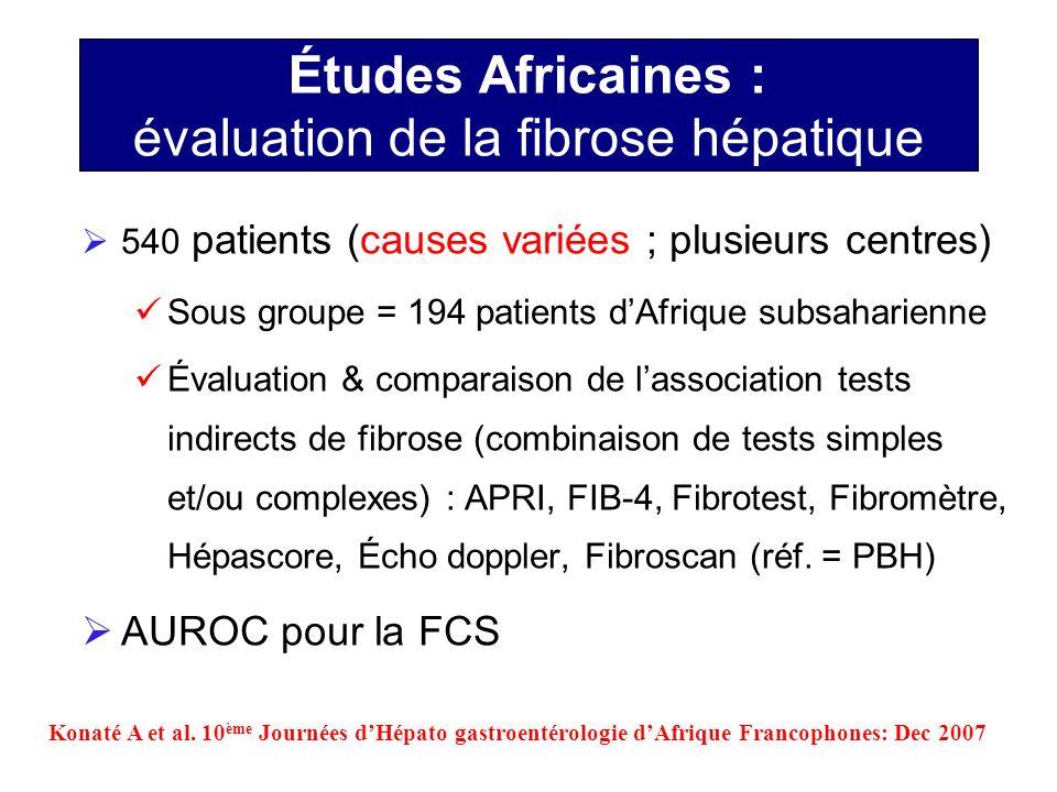 Études Africaines : évaluation de la fibrose hépatique 540 patients (causes variées ; plusieurs centres) Sous groupe = 194 patients dAfrique subsahari