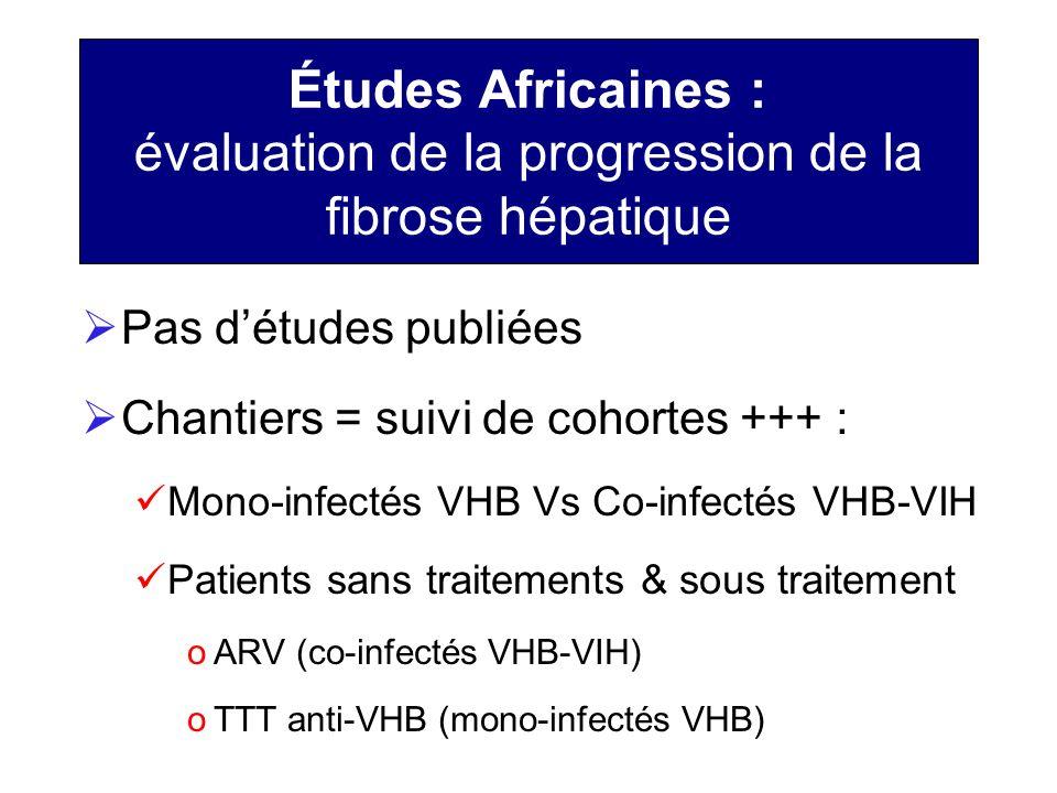 Études Africaines : évaluation de la progression de la fibrose hépatique Pas détudes publiées Chantiers = suivi de cohortes +++ : Mono-infectés VHB Vs