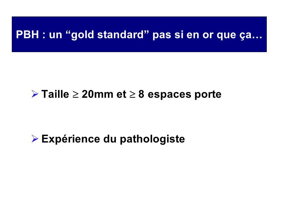 PBH : un gold standard pas si en or que ça… Taille 20mm et 8 espaces porte Expérience du pathologiste