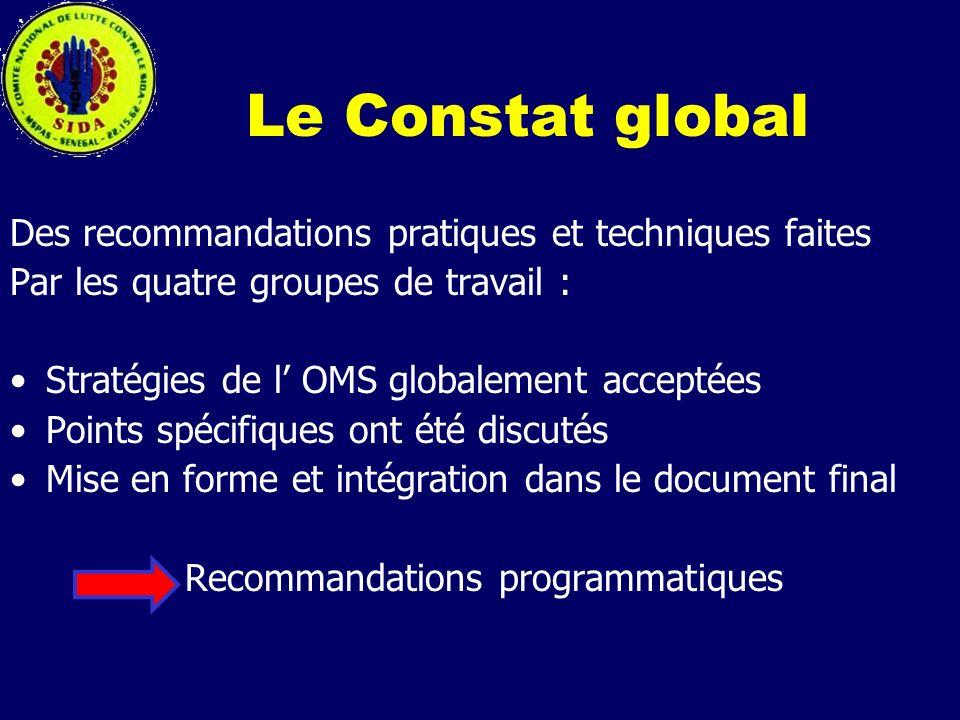 Le Constat global Des recommandations pratiques et techniques faites Par les quatre groupes de travail : Stratégies de l OMS globalement acceptées Poi