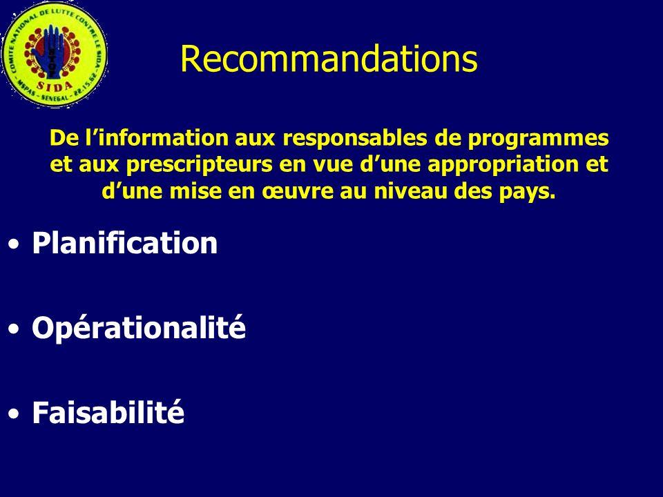 Recommandations De linformation aux responsables de programmes et aux prescripteurs en vue dune appropriation et dune mise en œuvre au niveau des pays
