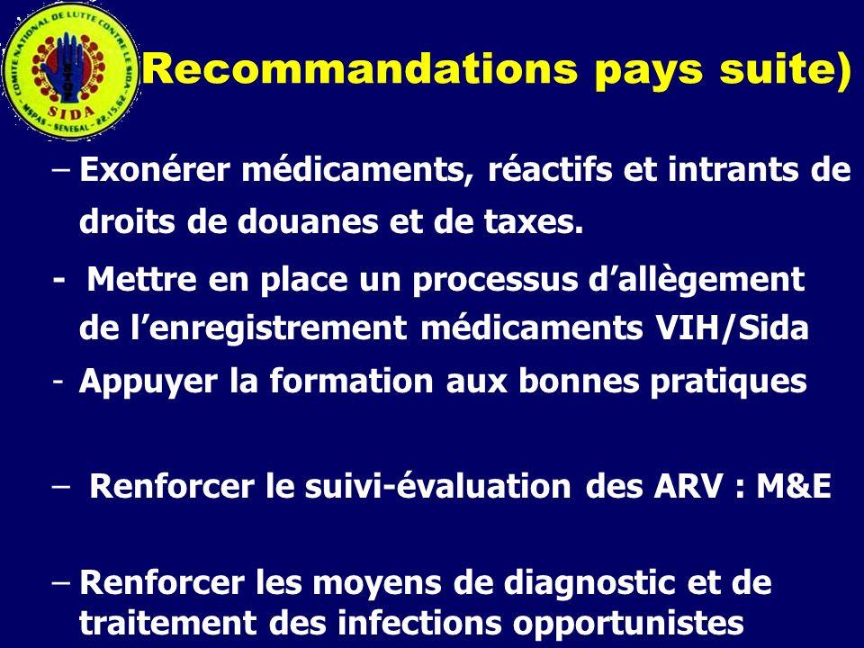 Recommandations pays suite) –Exonérer médicaments, réactifs et intrants de droits de douanes et de taxes. - Mettre en place un processus dallègement d
