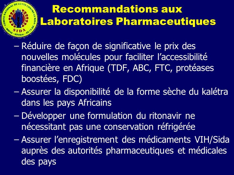 Recommandations aux Laboratoires Pharmaceutiques –Réduire de façon de significative le prix des nouvelles molécules pour faciliter laccessibilité fina