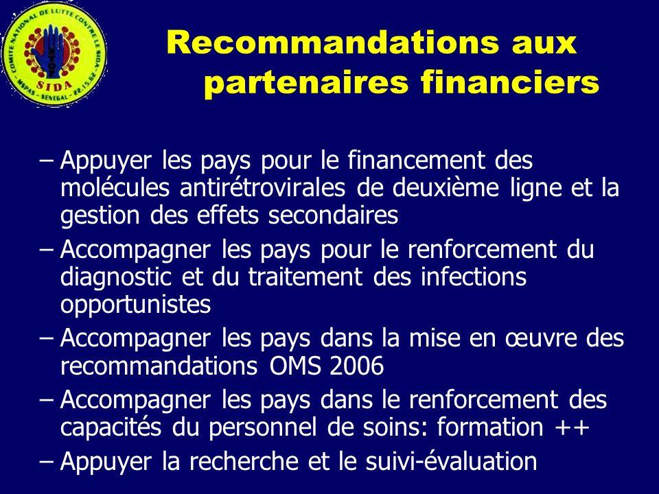 Recommandations aux partenaires financiers –Appuyer les pays pour le financement des molécules antirétrovirales de deuxième ligne et la gestion des ef