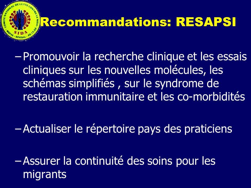 Recommandations: RESAPSI –Promouvoir la recherche clinique et les essais cliniques sur les nouvelles molécules, les schémas simplifiés, sur le syndrom