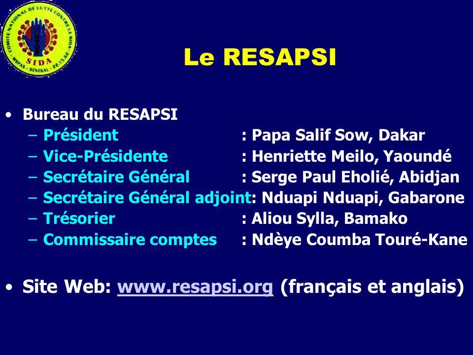 Le RESAPSI Bureau du RESAPSI –Président : Papa Salif Sow, Dakar –Vice-Présidente: Henriette Meilo, Yaoundé –Secrétaire Général: Serge Paul Eholié, Abi