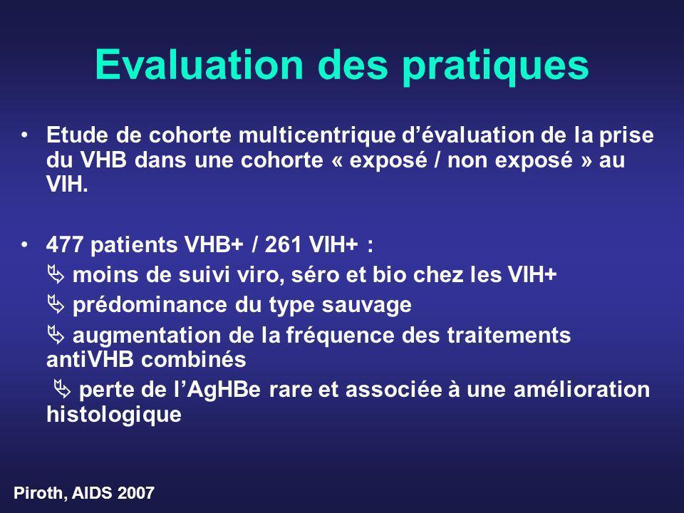 Evaluation des pratiques Etude de cohorte multicentrique dévaluation de la prise du VHB dans une cohorte « exposé / non exposé » au VIH. 477 patients