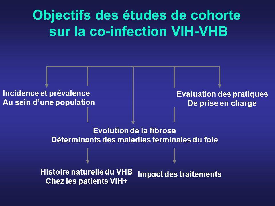 Prévalence de la co-infection VIH-VHB (1) Cohorte Eurosida (Pays Européens + Argentine + Israël) 9802 patients VIH+ P(AgHBs) = 8,7% P(HBsAg) = 0.68% P(AgHBs+ / VIH+) = 7% --------------------------------- Enquête CNAM / InVS 2005 Enquête un jour donné, BEH 2005 Konopnicki, AIDS 2005