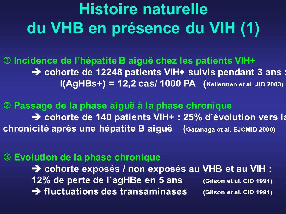 Histoire naturelle du VHB en présence du VIH (2) espérance de vie + infections opportunistes Décès de cause hépatique (Cohorte MACS, Thio, Lancet 2002) des décès non liés au sida (dont 25% par cause hépatique) (Cohorte Eurosida, Mocroft, AIDS 2002) Décès de cause hépatique dans lenquête « Mortalité 2005 » = 2 ème cause de décès non lié au sida en France (Mortavic, E.