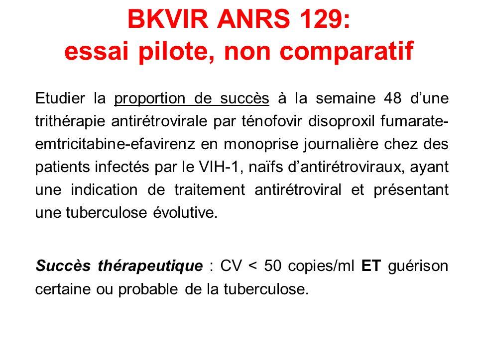 BKVIR ANRS 129: essai pilote, non comparatif Etudier la proportion de succès à la semaine 48 dune trithérapie antirétrovirale par ténofovir disoproxil