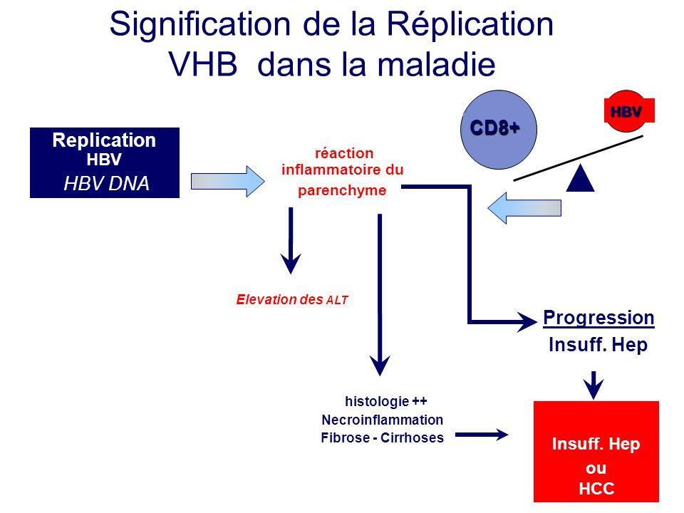 histologie ++ Necroinflammation Fibrose - Cirrhoses réaction inflammatoire du parenchyme Elevation des ALT Progression Insuff. Hep Signification de la
