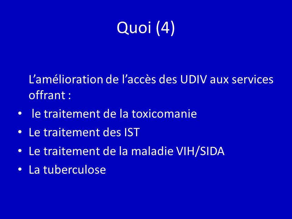 Quoi (4) Lamélioration de laccès des UDIV aux services offrant : le traitement de la toxicomanie Le traitement des IST Le traitement de la maladie VIH/SIDA La tuberculose