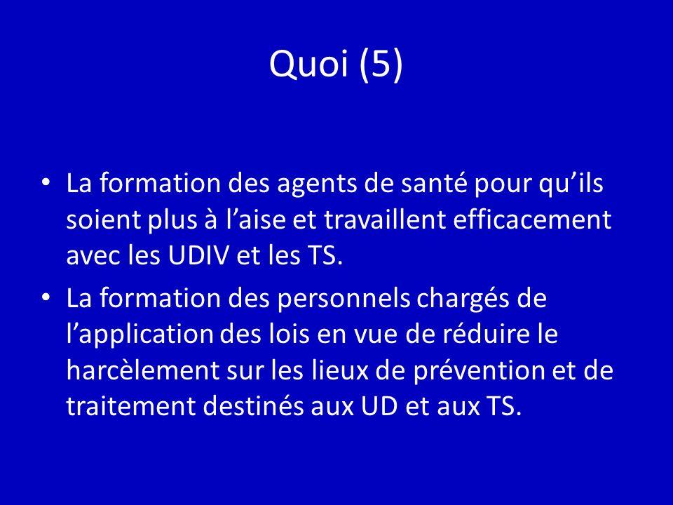 Quoi (5) La formation des agents de santé pour quils soient plus à laise et travaillent efficacement avec les UDIV et les TS.