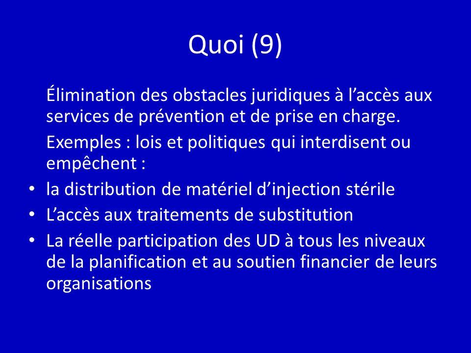 Quoi (9) Élimination des obstacles juridiques à laccès aux services de prévention et de prise en charge. Exemples : lois et politiques qui interdisent