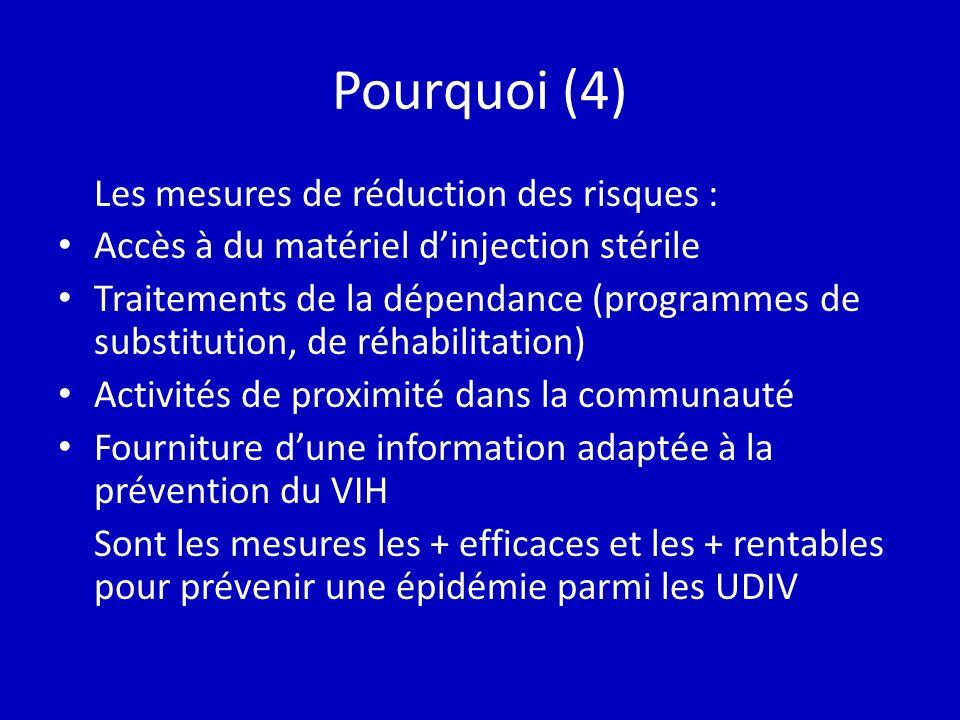 Pourquoi (4) Les mesures de réduction des risques : Accès à du matériel dinjection stérile Traitements de la dépendance (programmes de substitution, de réhabilitation) Activités de proximité dans la communauté Fourniture dune information adaptée à la prévention du VIH Sont les mesures les + efficaces et les + rentables pour prévenir une épidémie parmi les UDIV