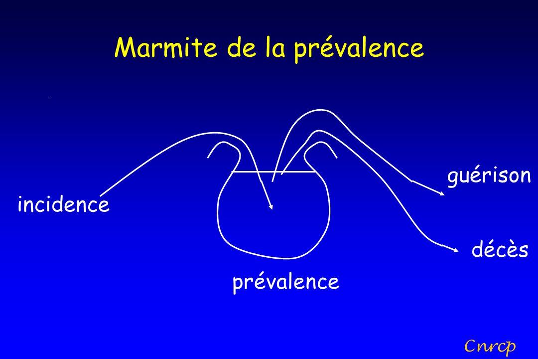 Marmite de la prévalence incidence. guérison décès prévalence Cnrcp