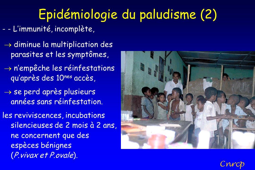 Epidémiologie du paludisme (2) - - Limmunité, incomplète, diminue la multiplication des parasites et les symptômes, nempêche les réinfestations quaprè