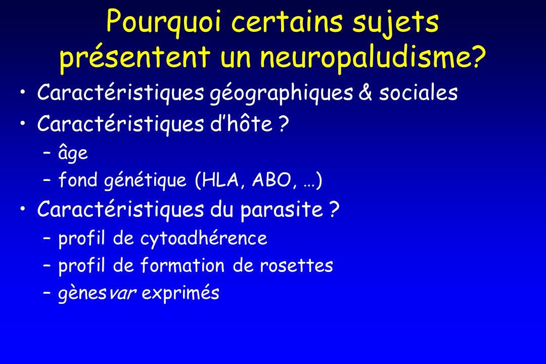 Pourquoi certains sujets présentent un neuropaludisme? Caractéristiques géographiques & sociales Caractéristiques dhôte ? –âge –fond génétique (HLA, A