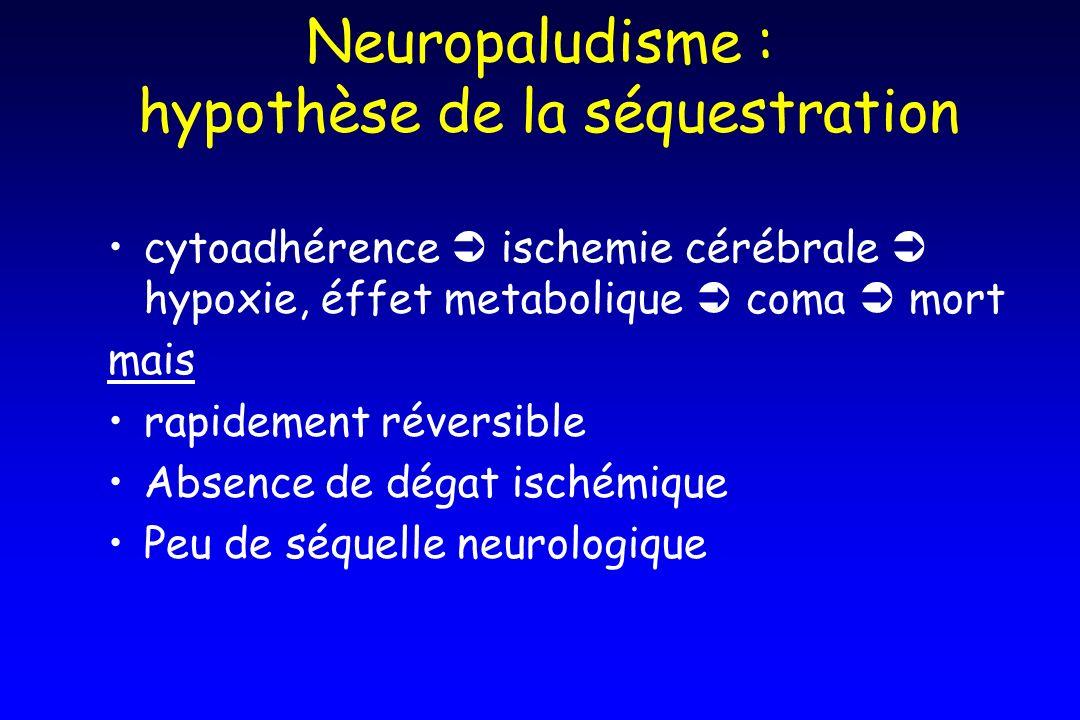 Neuropaludisme : hypothèse de la séquestration cytoadhérence ischemie cérébrale hypoxie, éffet metabolique coma mort mais rapidement réversible Absenc